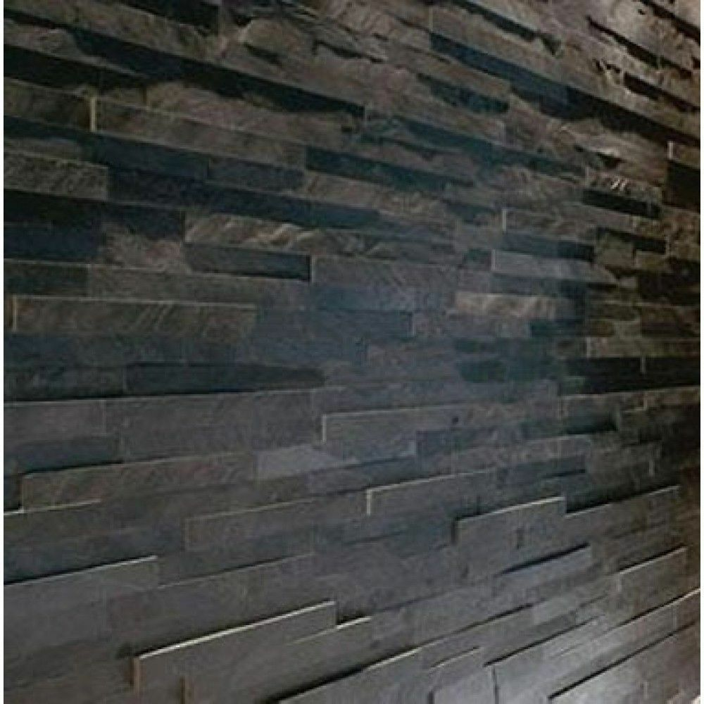 Black slate split face wall cladding for feature walls 3 d for Split wall