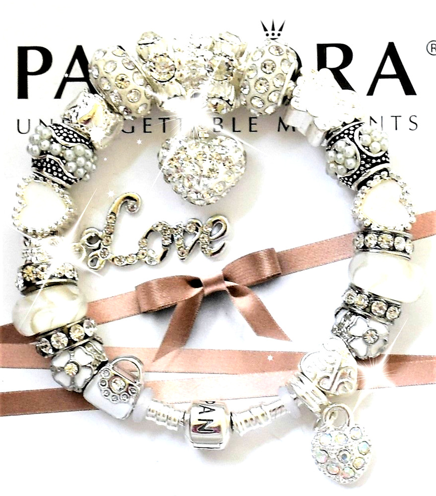 Authentic Pandora Bracelet Silver With Wife Mom White Love European Charms Nib Ebay