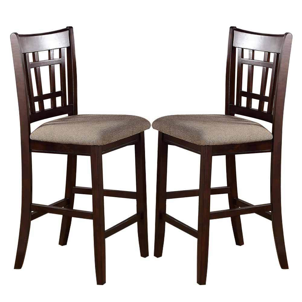 2 Pc Dark Rosy Brown Wood Dining Counter Height High 24 Quot H