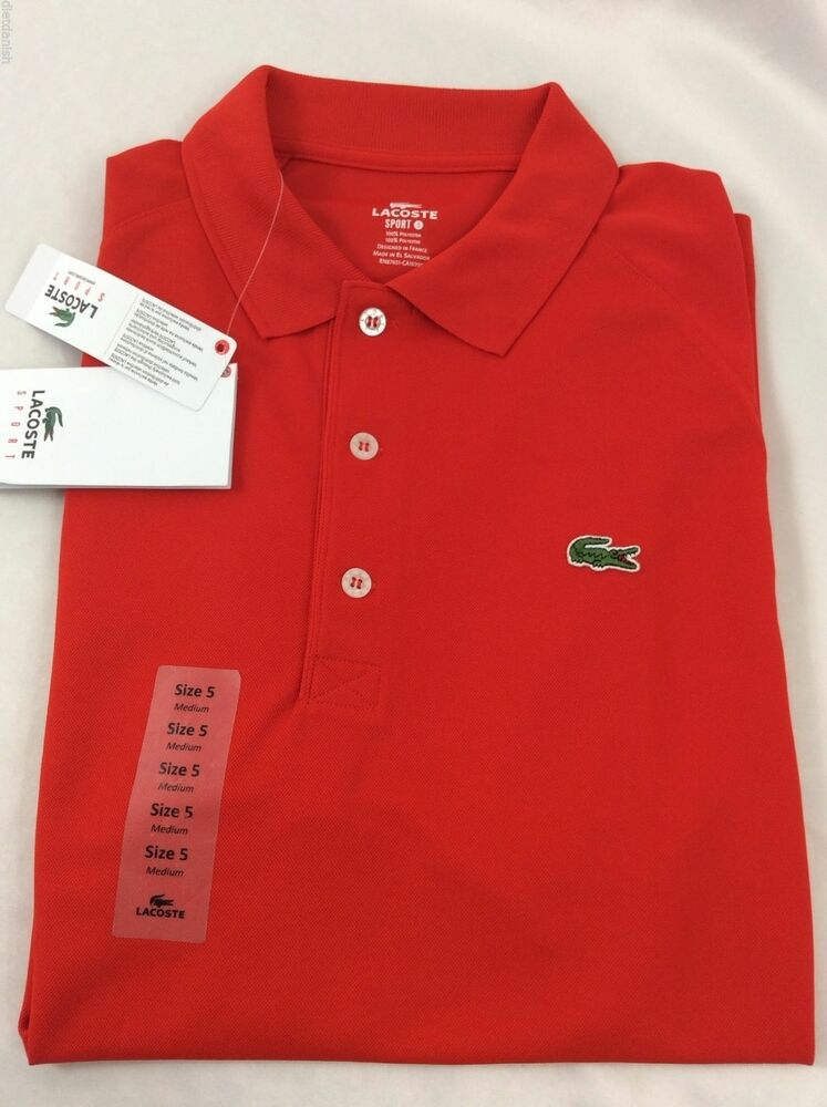Lacoste sport men 39 s polo shirt new with tags etna red for Lacoste size 4 polo shirt