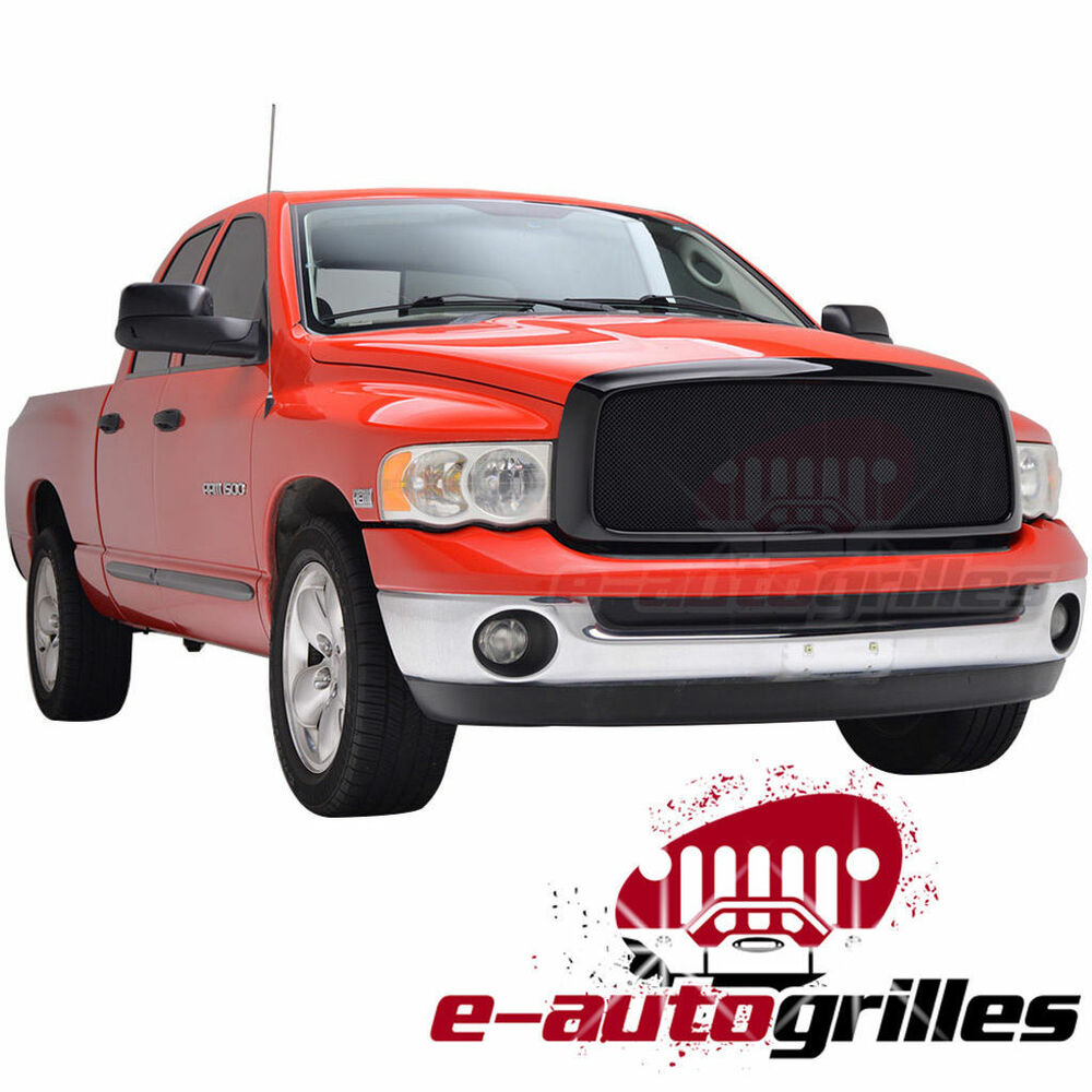 black stainless steel wire mesh grille w abs shell for 02 05 dodge ram 1500 2500 ebay. Black Bedroom Furniture Sets. Home Design Ideas