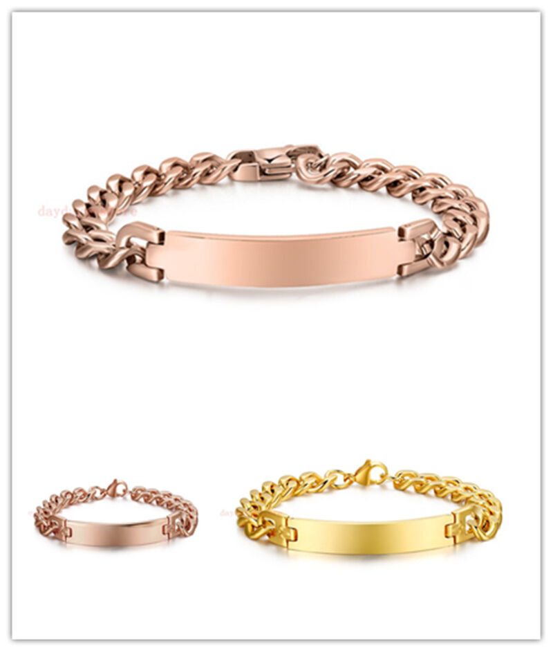 Chain Bracelet Womens: Rose Gold/Gold 316L Stainless Steel New ID Chain Exquisite