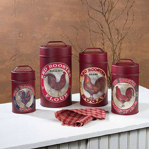 new country farmhouse red rooster canister set kitchen. Black Bedroom Furniture Sets. Home Design Ideas