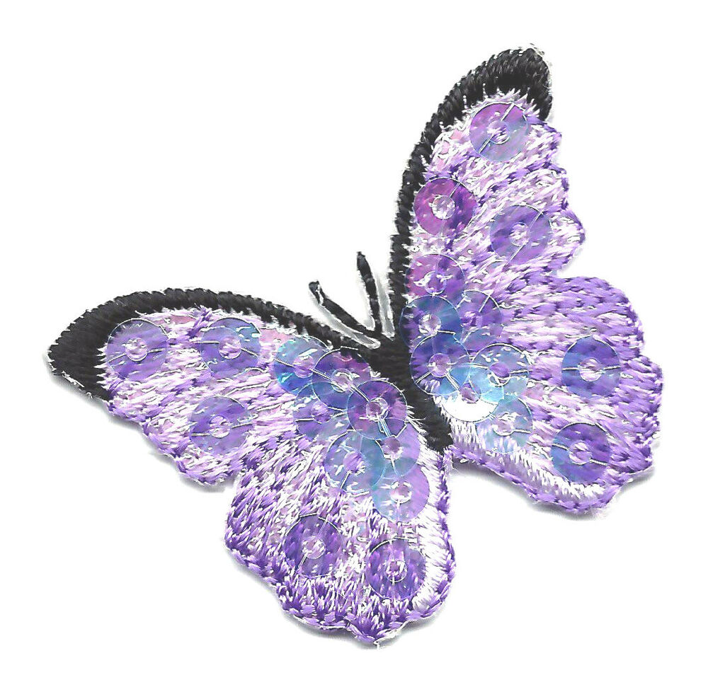 Butterfly lavender sequined iron on