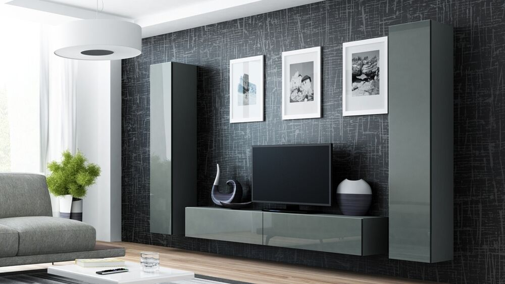High Gloss Tv Cabinet Tv Wall Unit Tv Stand Grey Viva