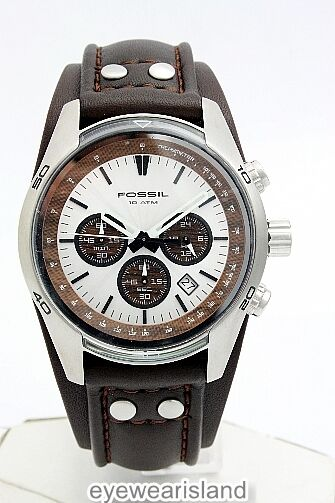Fossil Men's CH2565 Wood Dial Brown Leather Strap Silver ...