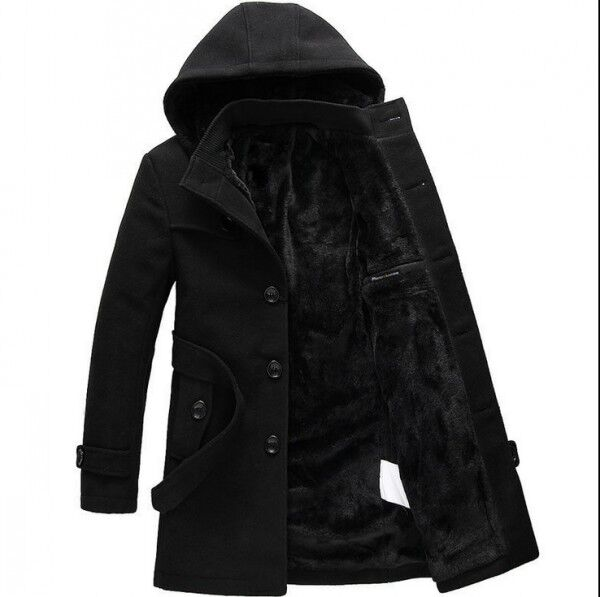 Winter Jacket Men Thick Warm Long Jackets Parkas hombre ...   Mens Trench Coat With Hood