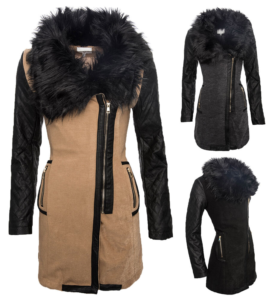 damen bergangs jacke mantel kunstpelz fell winterjacke damenmantel lang d 61 ebay. Black Bedroom Furniture Sets. Home Design Ideas