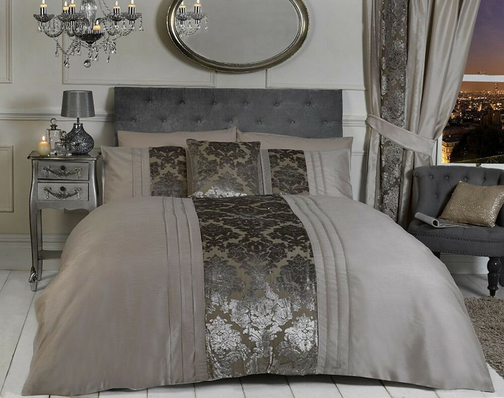 Luxury mink damask flock pintuck duvet quilt cover - Housse couette luxe ...