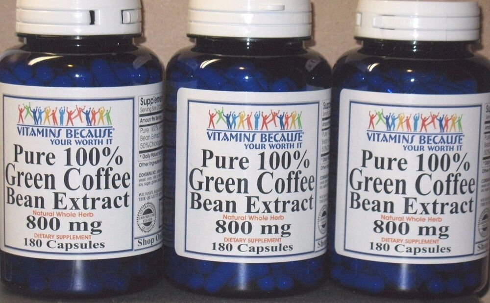 100% Pure Green Coffee Bean Extract Chlorogenic Acid 800mg ...