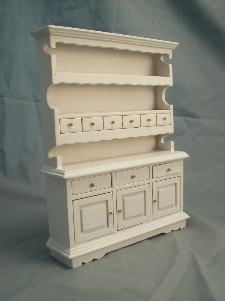 Kitchen hutch white t5114 miniature dollhouse furniture wooden 1pc 1 12 scale ebay Dollhouse wooden furniture