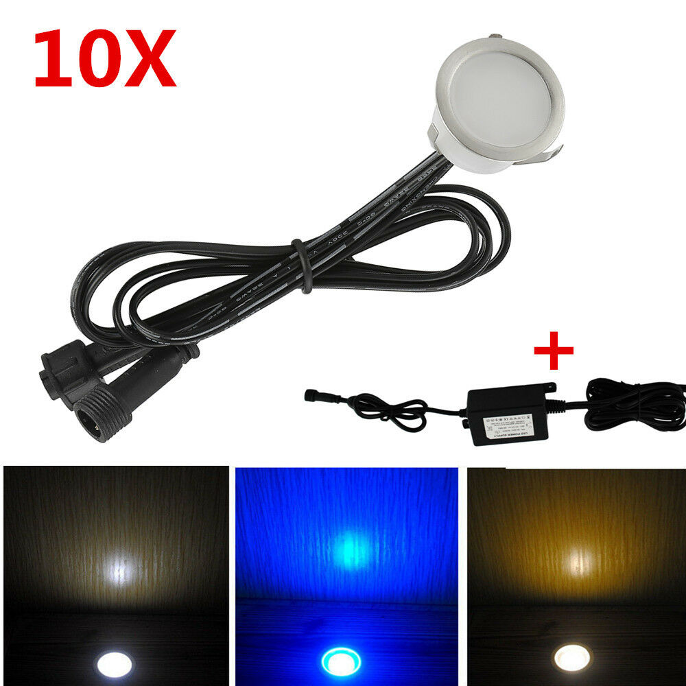 10pcs set 30mm 12v outdoor garden stair path flat in led deck lights 8w driver ebay. Black Bedroom Furniture Sets. Home Design Ideas
