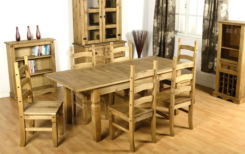 Corona MEXICAN Solid Waxed Pine EXTENDING Dining Set Table And 6 Chairs EBay