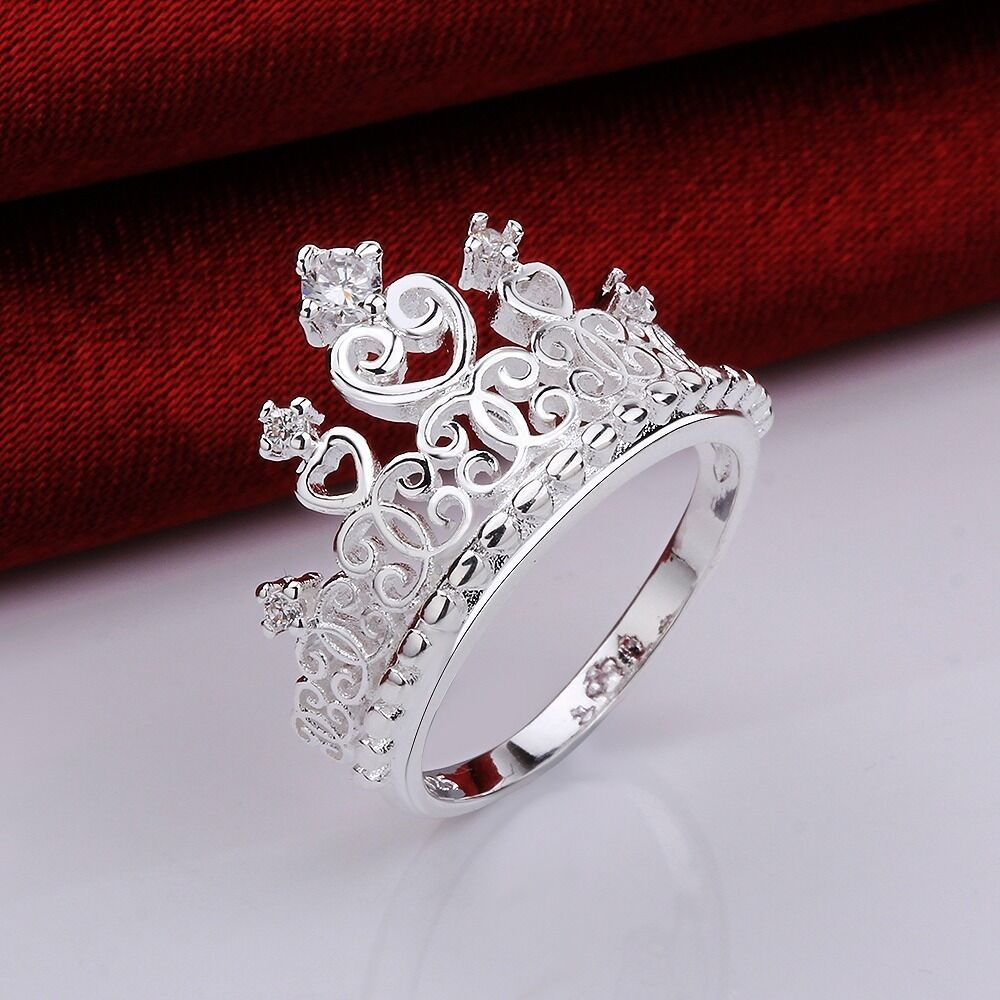 Pretty Princess Queen Crown Jewelry Women Ring Zircon