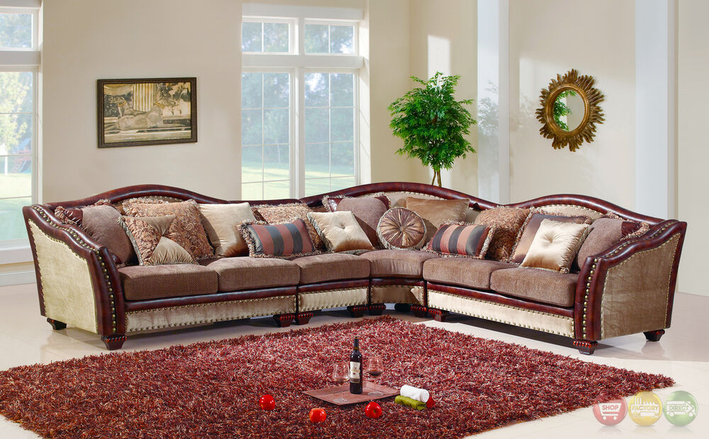 formal antique style traditional living room furniture sectional sofa