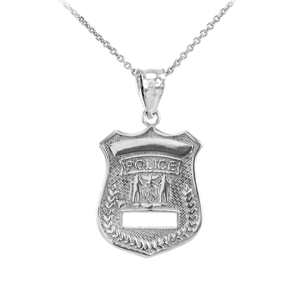 sterling silver badge charm pendant necklace ebay