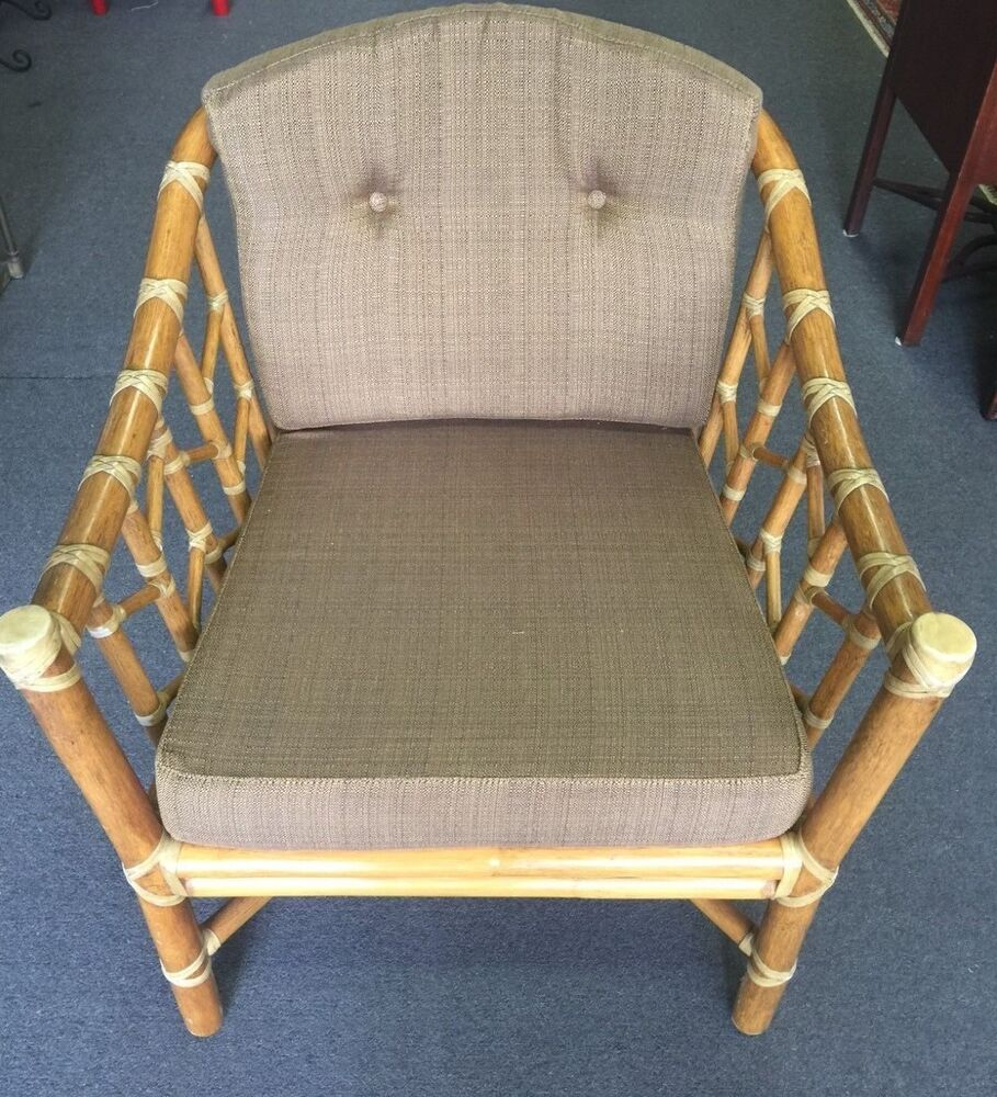 Bamboo Chair With Arms: McGuire Furniture Arm Chair Rattan Bamboo Vintage