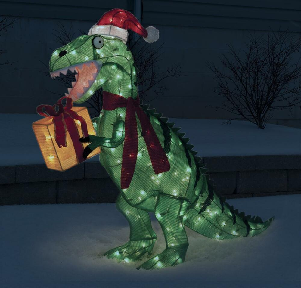 Christmas animated 42 tinsel t rex w santa hat gift for Animated tinsel dinosaur christmas decoration