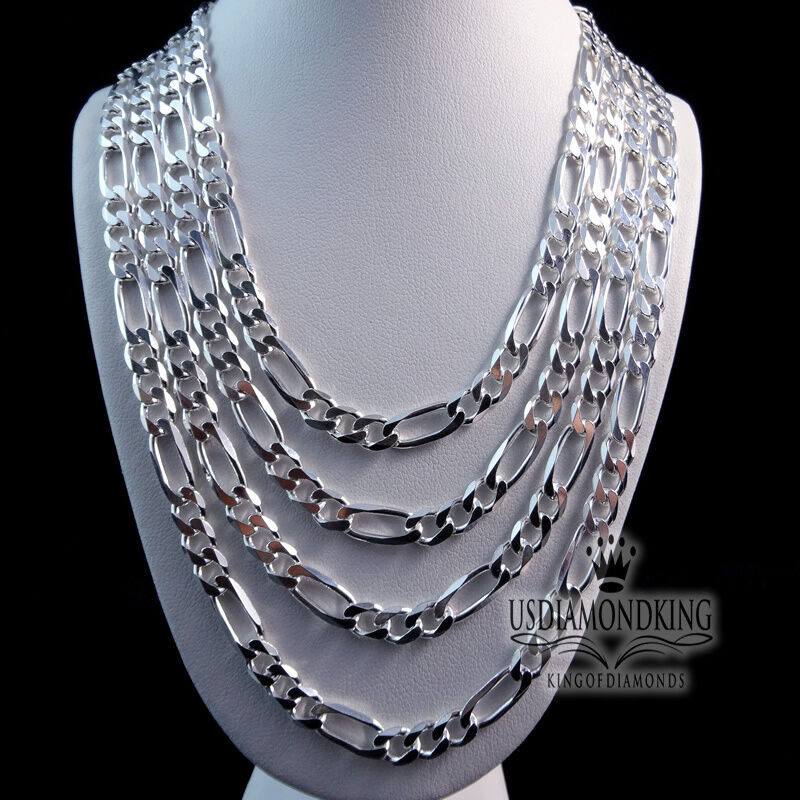 "MENS WOMENS 925 STERLING SILVER 24""~28"" X 7MM FIGARO ..."