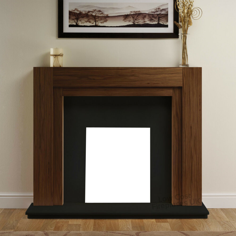 Electric walnut wood surround black modern wall fire for Large modern fireplaces