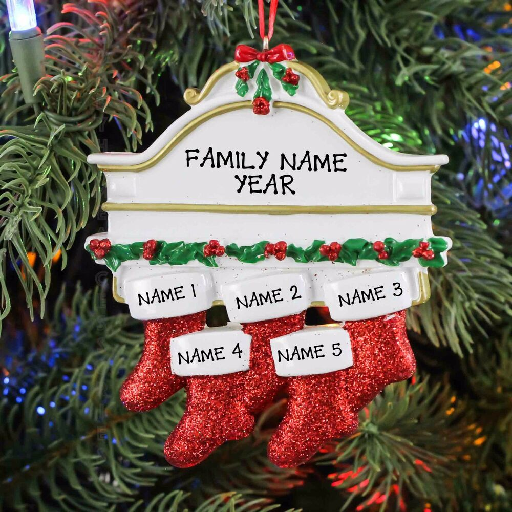 FIREPLACE MANTLE STOCKING FAMILY OF 5 PERSONALIZED ...