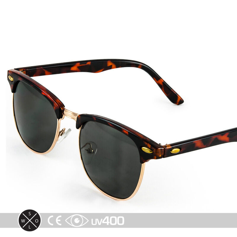 8823f32be0 Details about Half Frame Vintage Clubmaster Style Classic Sunglasses Black  Tortoise RX S063