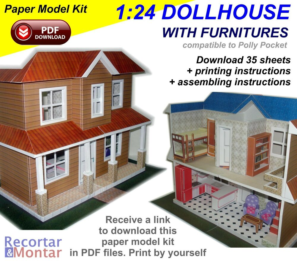 Paper model kit 3d in pdf to download 1 24 scale Scale model furniture