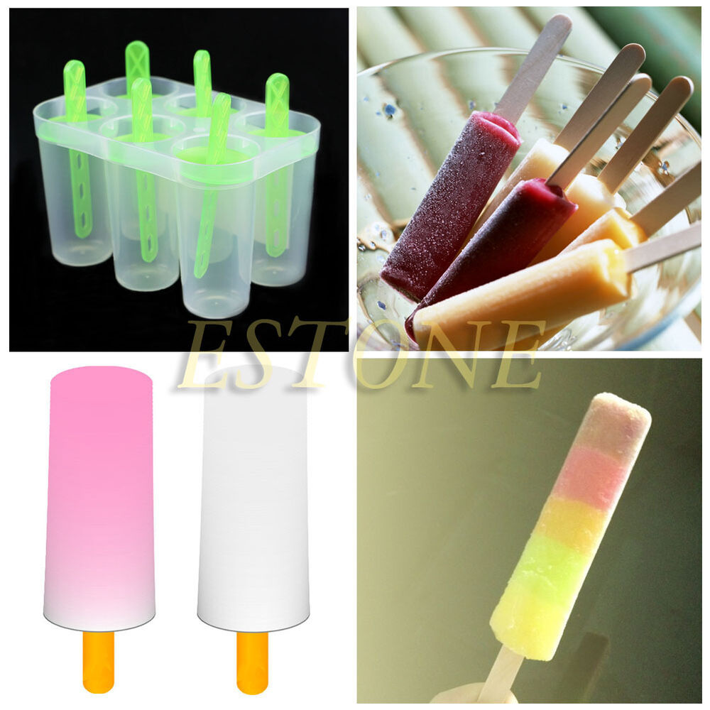 4/6 Cell Pop Popsicle Maker Lolly Mould Tray Kitchen