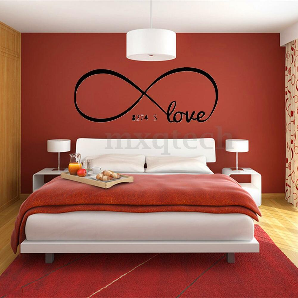 Cool love removable wall stickers art vinyl quote decal for Bedroom wall mural designs