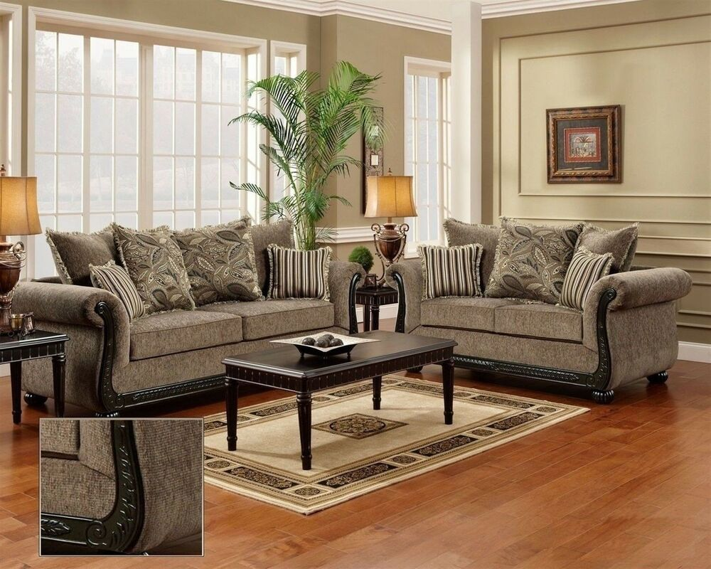 dream java chenille sofa love seat living room furniture set wood trim pillows ebay. Black Bedroom Furniture Sets. Home Design Ideas