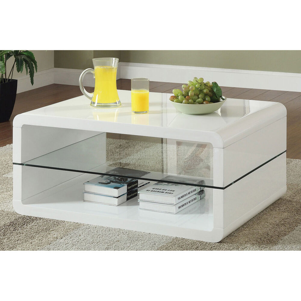 Glossy white contemporary clear temper glass sleek modern cocktail coffee table ebay Glass contemporary coffee table