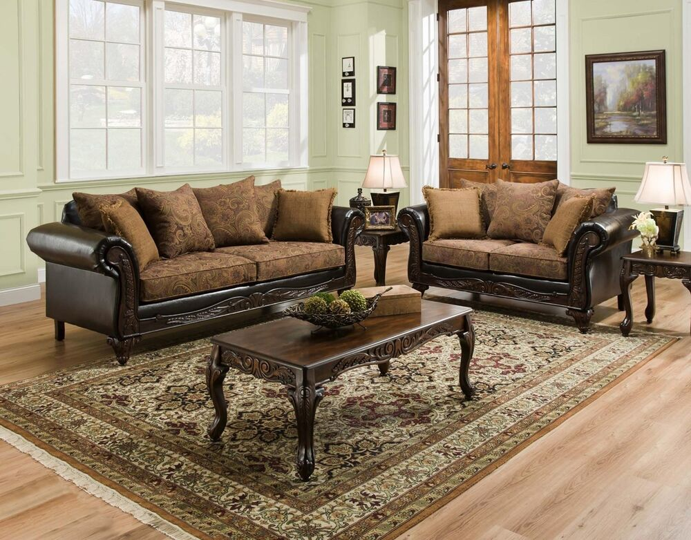 San marino traditional living room furniture set w wood trim accent