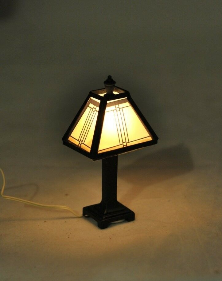 Light craftsman tiffany lamp 1 12 scale dollhouse for 12v table lamp