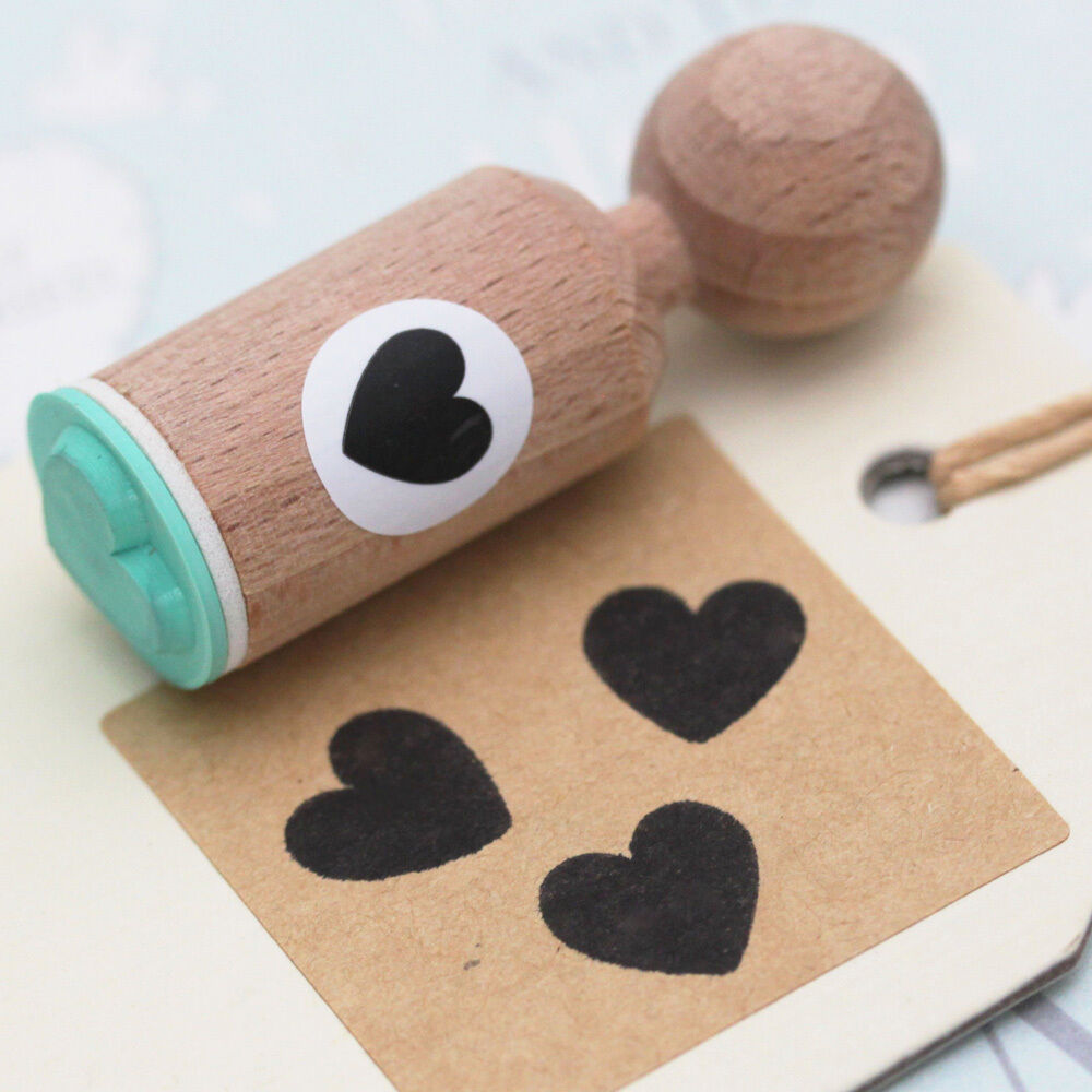HEART Rubber Stamp Round - VERY MINI - Craft / Wedding ...