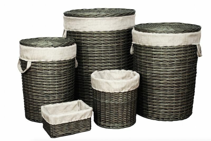 Wicker Wastebasket With Lid Small : Willow wooden wicker round linen laundry basket with lid