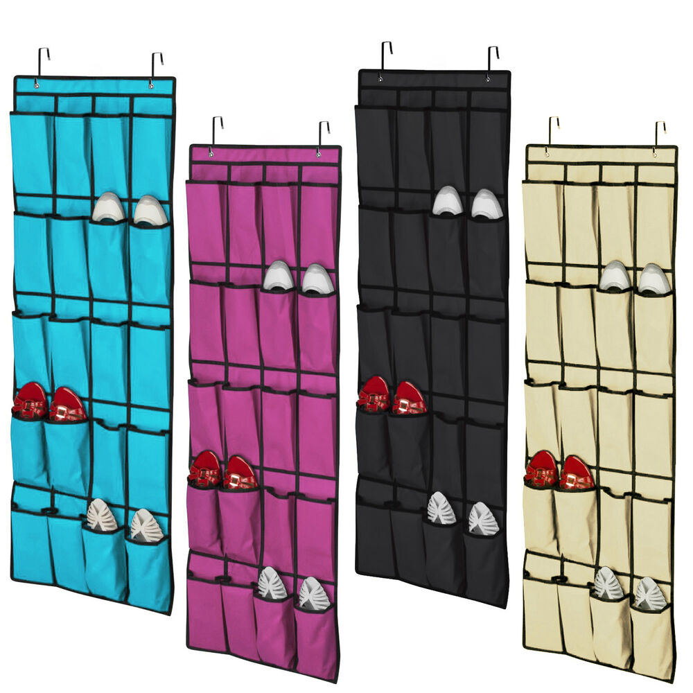 20 pockets over door cloth shoe organizer hanging hanger closet space storage ea ebay. Black Bedroom Furniture Sets. Home Design Ideas