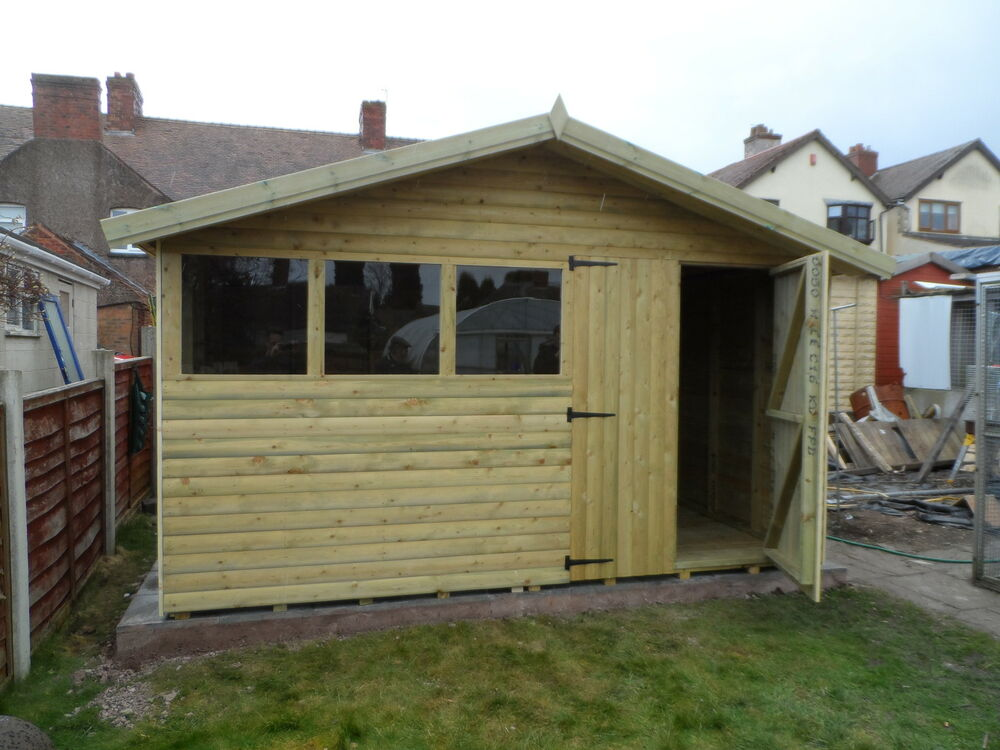 8x8 reverse apex shed loglap t g ebay for Garden shed 8x8