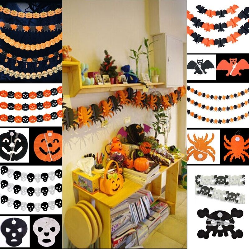 5 Styles Halloween Decorations Paper Garland Cute Decoration For Halloween Props Ebay