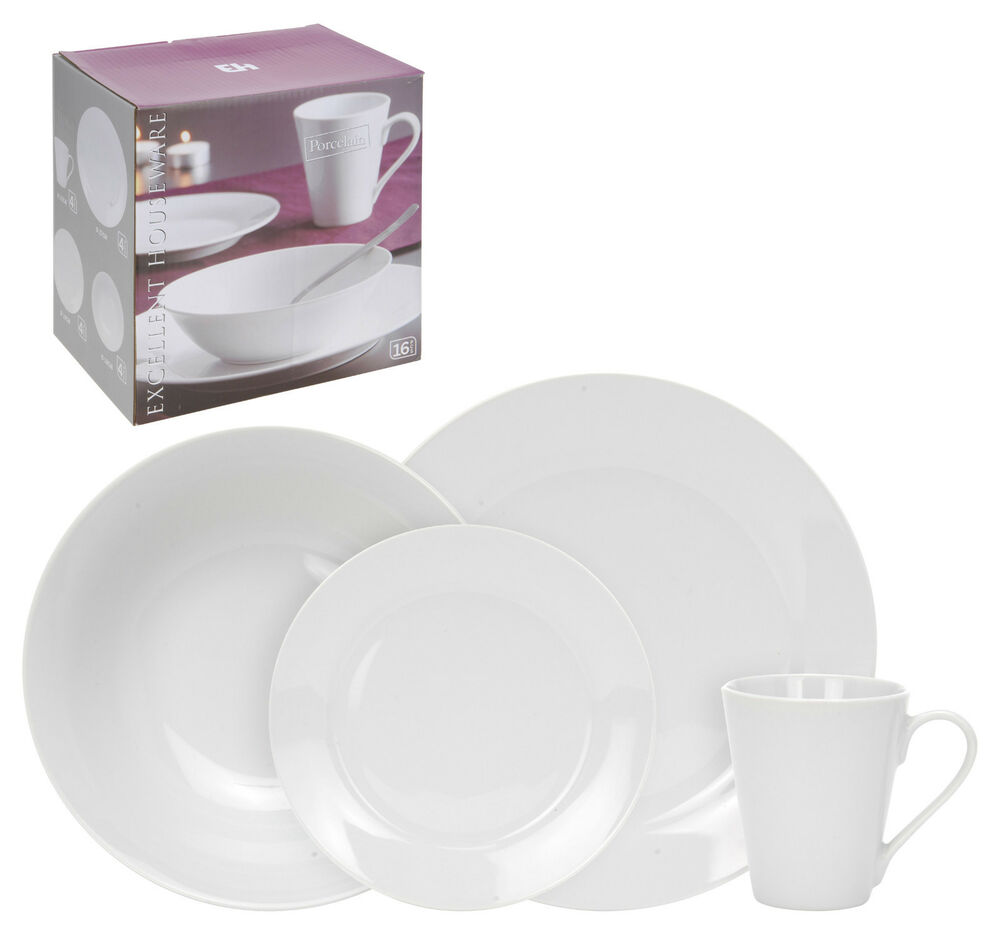 16 Piece White Porcelain Dinner Serving Dinnerware Dining