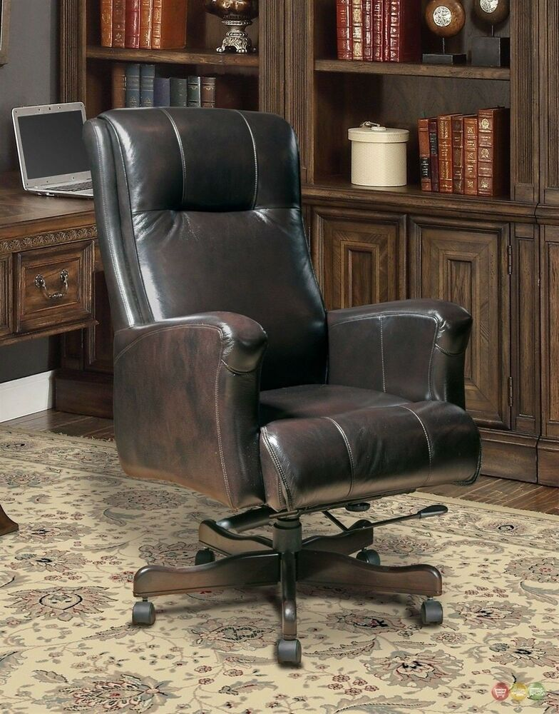 Executive Office Furniture: Brown Genuine Leather Office Furniture Executive Desk