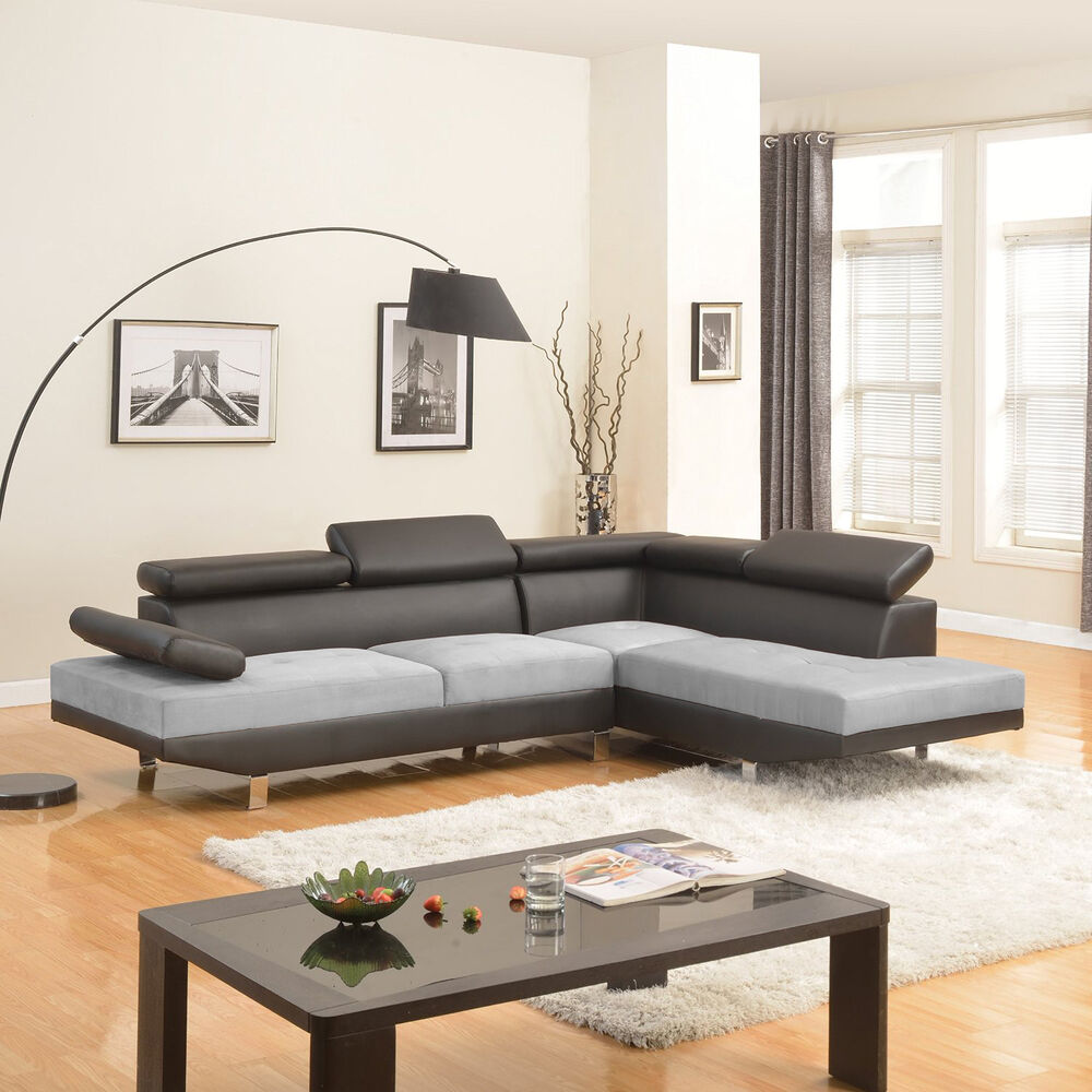 Contemporary Sectional: 2PC Sectional Sofa Black/Grey Modern 2-Tone Microfiber