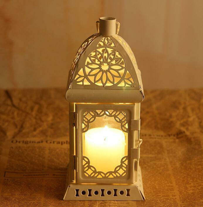 White Retro Metal Candle Holder Candle Lamp Light Box