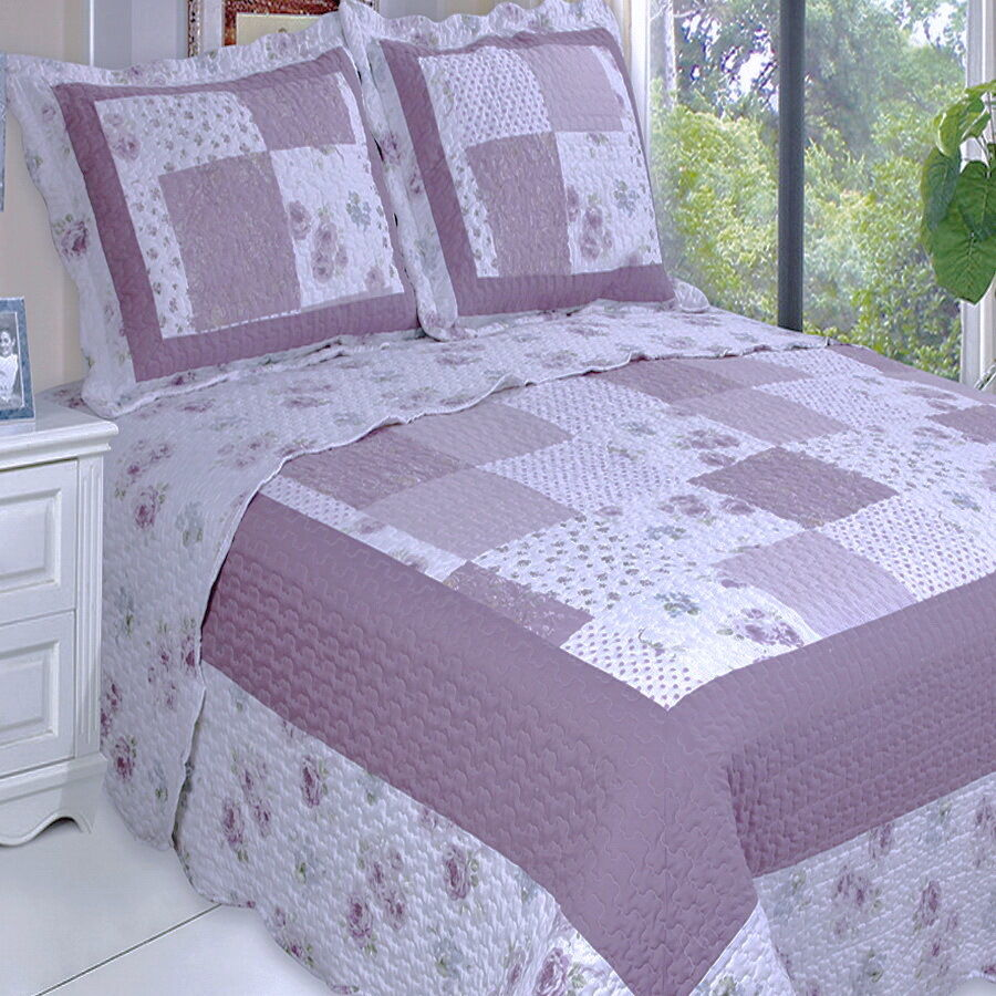 Cottage Country Purple Roses Patchwork Lightweight Quilt