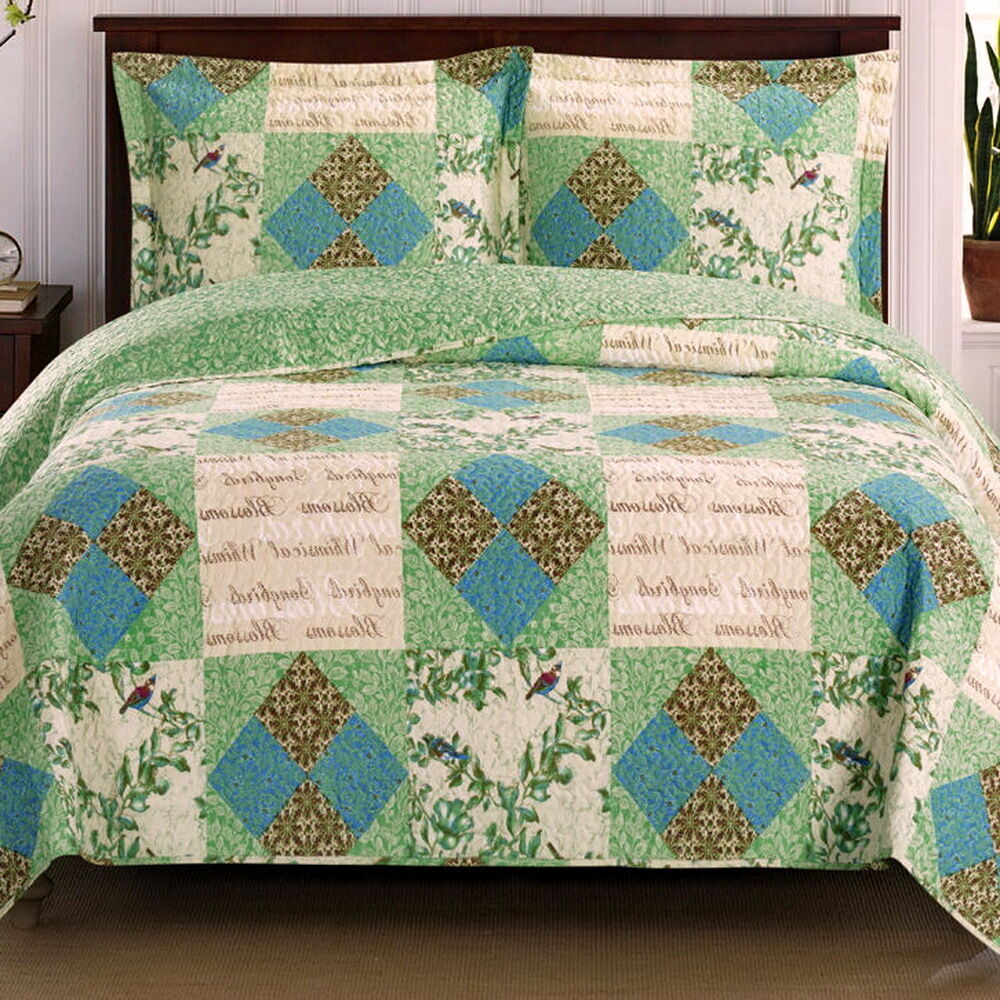 ROMANTIC Chic Shabby PATCHWORK Blue Green QUILT COVERLET SET Oversized : eBay
