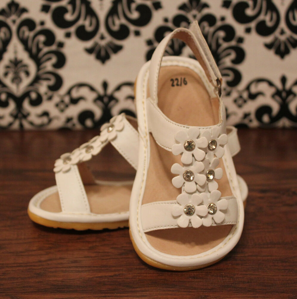 White Flower Toddler Girls Squeaky Sandals Shoes Sizes 3