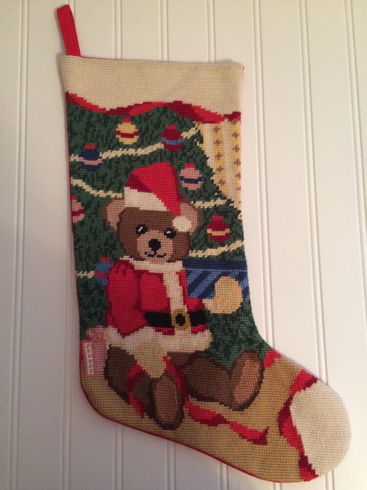 Needlepoint Santa Bear Christmas Holiday Stocking Ebay