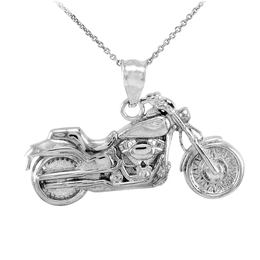sterling silver motorcycle biker harley pendant necklace