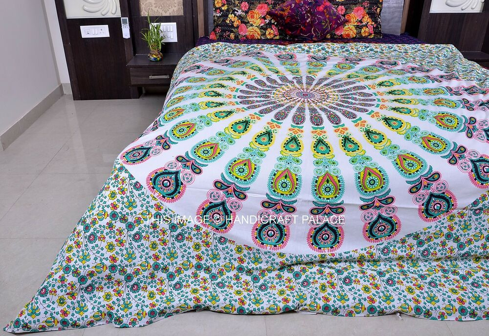 White Mandala Queen Double Duvet Cover Quilt Cover Indian