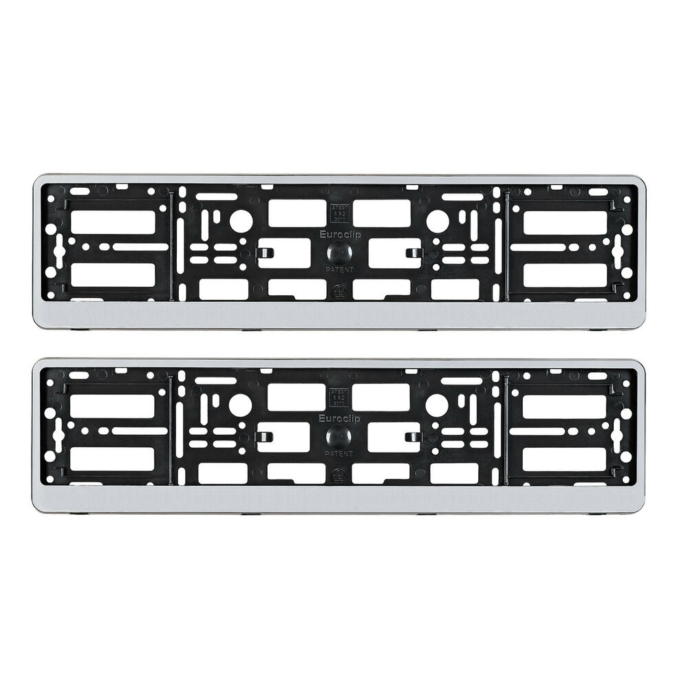 Audi A4 License Plate Frame: PAIR AUDI SILVER NUMBER PLATE SURROUNDS HOLDER FRAME FOR