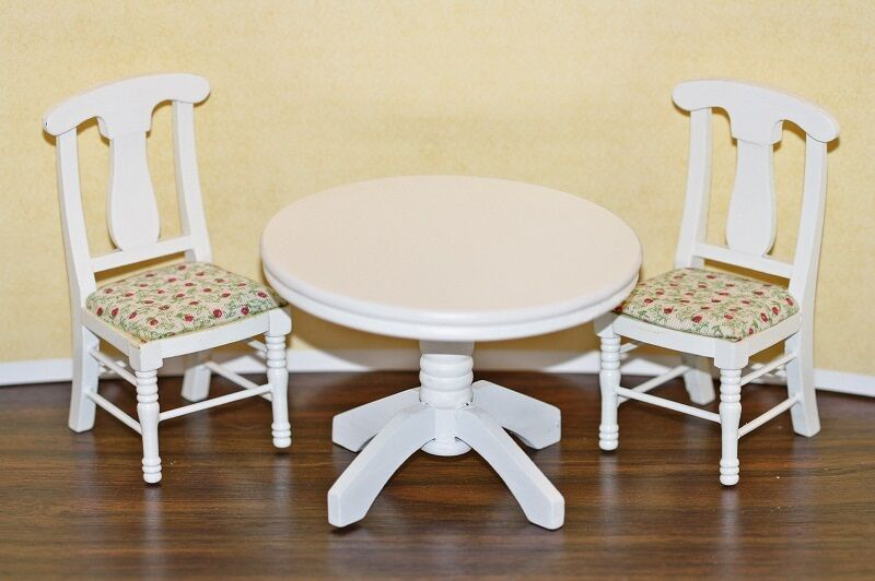 dollhouse miniature round white kitchen table chairs set ebay. Black Bedroom Furniture Sets. Home Design Ideas